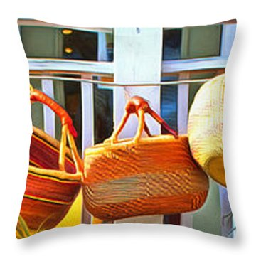 Baskets Throw Pillow by Marion Johnson