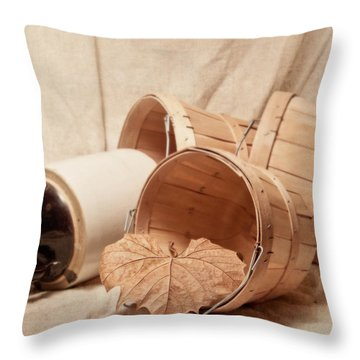 Baskets With Crock Throw Pillow