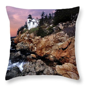 Bass Harbor Head Lighthouse In Maine Throw Pillow by Skip Willits