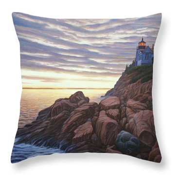 Bass Harbor Light Throw Pillow by Bruce Dumas