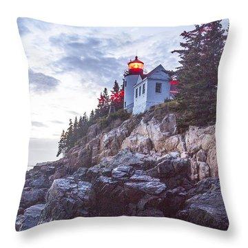 Bass Harbor Light Reflection Throw Pillow