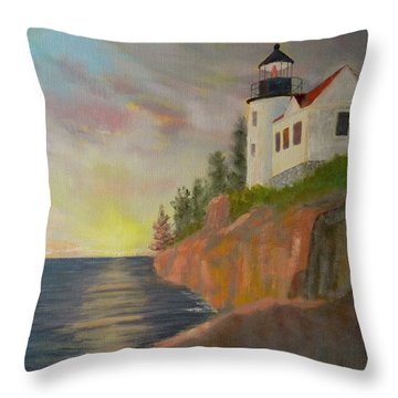 Bass Harbor Light Throw Pillow