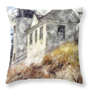 Bass Harbor Light Wc Throw Pillow by Peter J Sucy