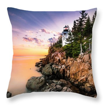 Bass Harbor Lighthouse Sunset Throw Pillow by Ranjay Mitra