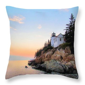 Bass Harbor Sunset II Throw Pillow by Elizabeth Dow