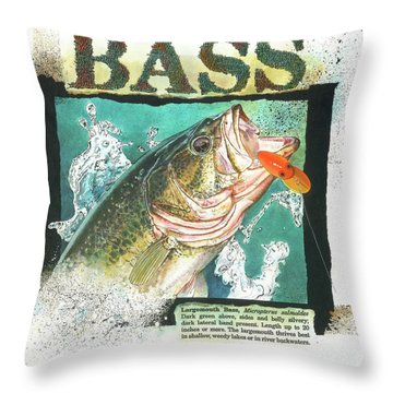 Throw Pillow featuring the painting Bass by John Dyess