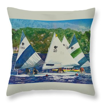 Bass Lake Races  Throw Pillow