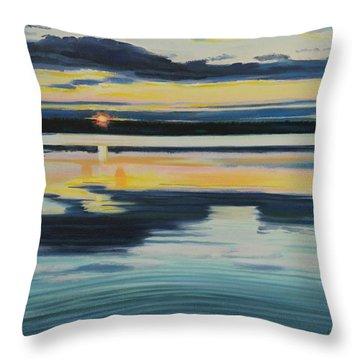 Bass Lake Sunset Throw Pillow