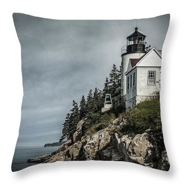 Bass Lighthouse Maine Throw Pillow