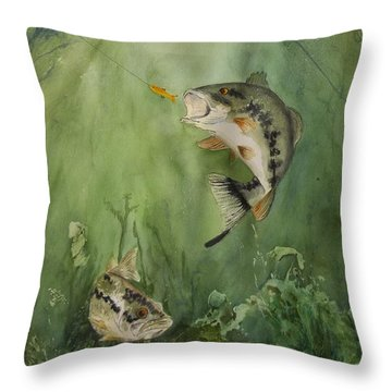 Bass On The Bottom Throw Pillow