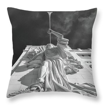 Throw Pillow featuring the photograph Bass Performance Hall Angel by Guy Whiteley