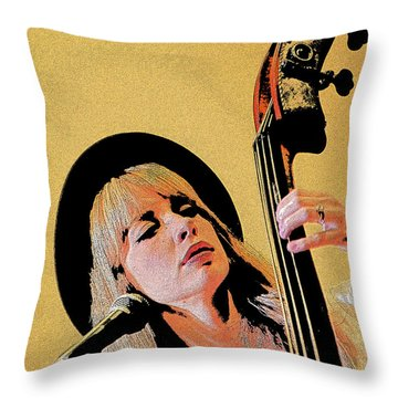 Bass Player Throw Pillow by Jim Mathis