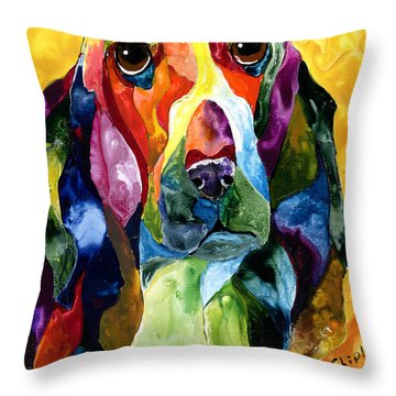 Basset Hound Blues Throw Pillow by Sherry Shipley