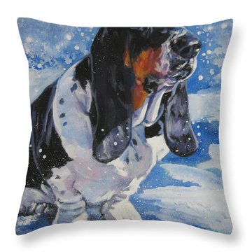 basset Hound in snow Throw Pillow