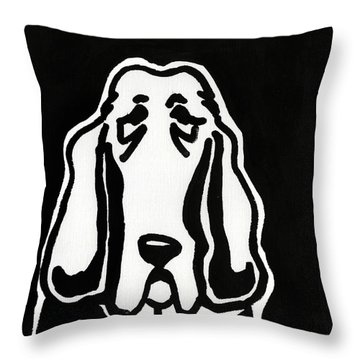 Throw Pillow featuring the drawing Basset Hound Ink Sketch by Leanne WILKES