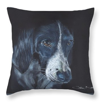 Throw Pillow featuring the painting Basset Hound by John Neeve