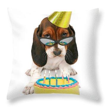 Basset Hound Puppy Wearing Sunglasses  Throw Pillow