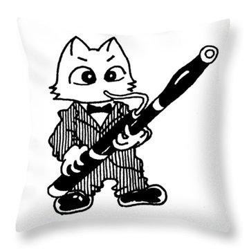 Bassoon Cat Throw Pillow