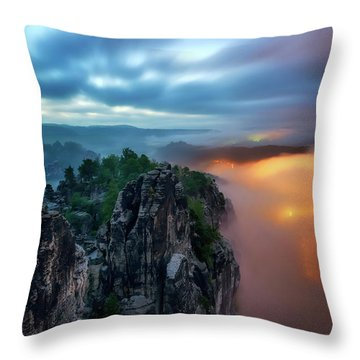Bastei Bridge Night View, Saxon Switzerland, Germany Throw Pillow