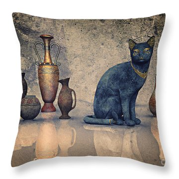 Bastet And Pottery Throw Pillow by Jutta Maria Pusl