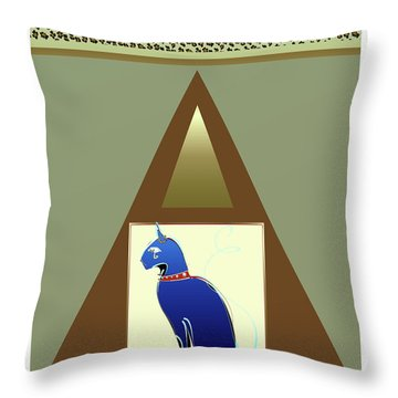 Throw Pillow featuring the mixed media Bastet  by Larry Talley