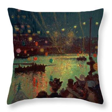 Bastille Day At Lorient Throw Pillow by Henry Moret