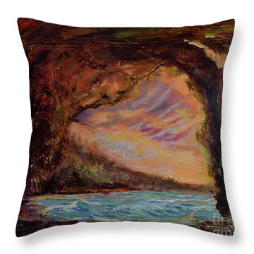 Bat Cave St. Philip Barbados  Throw Pillow
