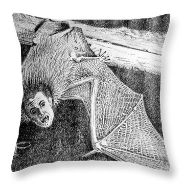 Bat Man Throw Pillow by Arline Wagner