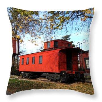 Batavia Depot Caboose Throw Pillow by Ely Arsha
