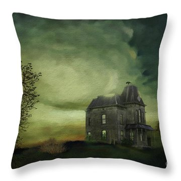 Throw Pillow featuring the mixed media Bates Residence by Jim  Hatch
