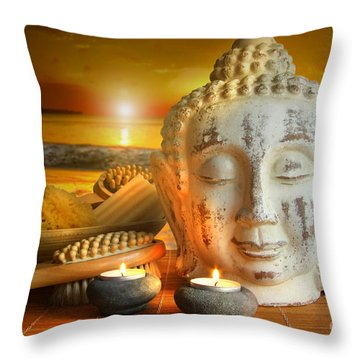 Bath Accessories With Buddha Statue At Sunset Throw Pillow by Sandra Cunningham
