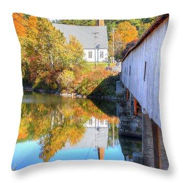 Bath Covered Bridge Throw Pillow