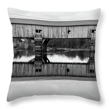 Bath New Hampshire Covered Bridge Black And White Throw Pillow