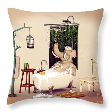 Throw Pillow featuring the digital art Bath Time by Methune Hively