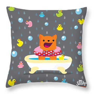 Bath Time  Throw Pillow by Seedys