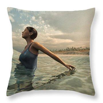 Bather Throw Pillow by Cynthia Decker