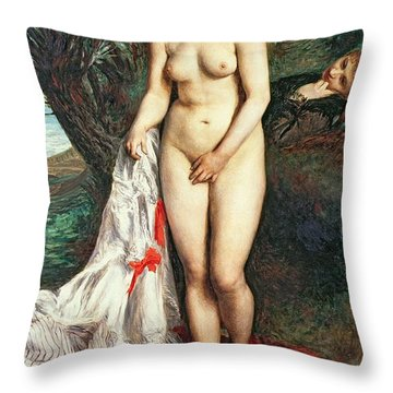 Bather With A Griffon Dog Throw Pillow by Pierrre Auguste Renoir