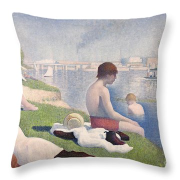 Bathers At Asnieres Throw Pillow by Georges Pierre Seurat
