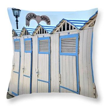 Bathhouses In The Mediterranean Throw Pillow by Joana Kruse