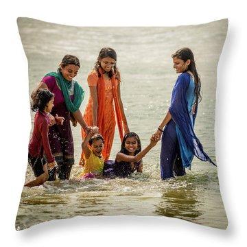 Bathing At Varkala II Throw Pillow