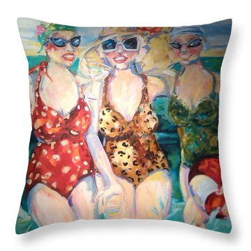 Bathing Beauties  Throw Pillow by Heather Roddy