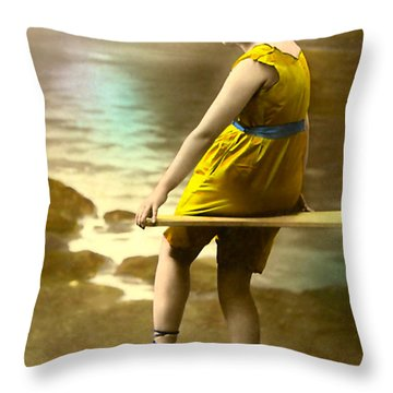 Bathing Beauty In Yellow  Bathing Suit Throw Pillow