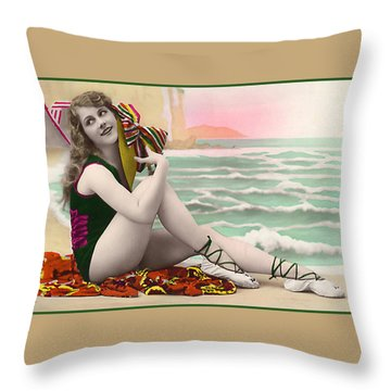 Bathing Beauty On The Shore Bathing Suit Throw Pillow