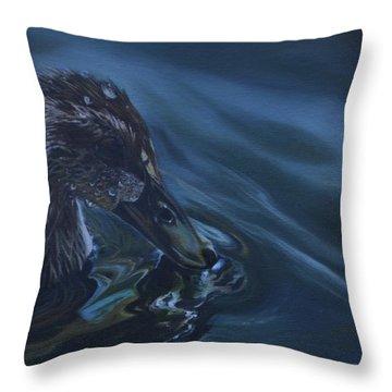 Bathing Duckline Throw Pillow