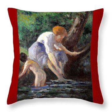 Bathing Throw Pillow by Maximilien Luce