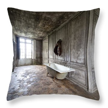 Bathroom Decay - Urban Exploration Throw Pillow by Dirk Ercken