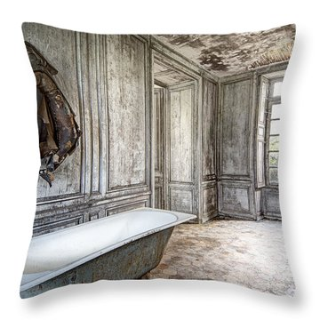 Bathroom In Decay - Abandoned Building Throw Pillow by Dirk Ercken