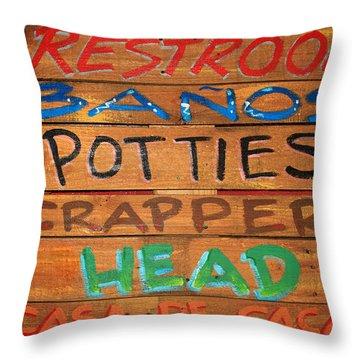 Bathroom Sign Throw Pillow