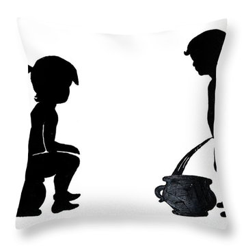Bathroom Silhouettes Throw Pillow by Sally Weigand