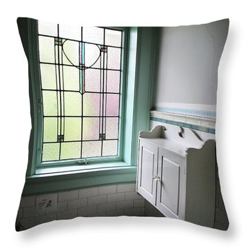 Vintage Bathroom Window Throw Pillow